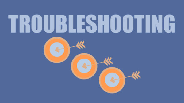 Troubleshooting text with 3 orange arrows and bulls-eyes on blue background
