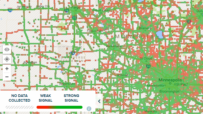 Sample map image showing signal strength details in central Minnesota