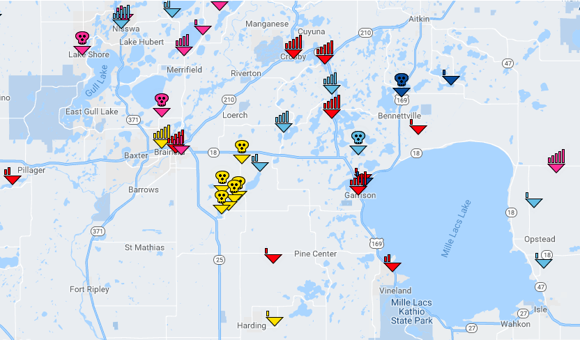 Sample coverage map showing multiple coverage indicators